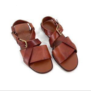 COACH Brown Leather Strappy Buckle Sandal